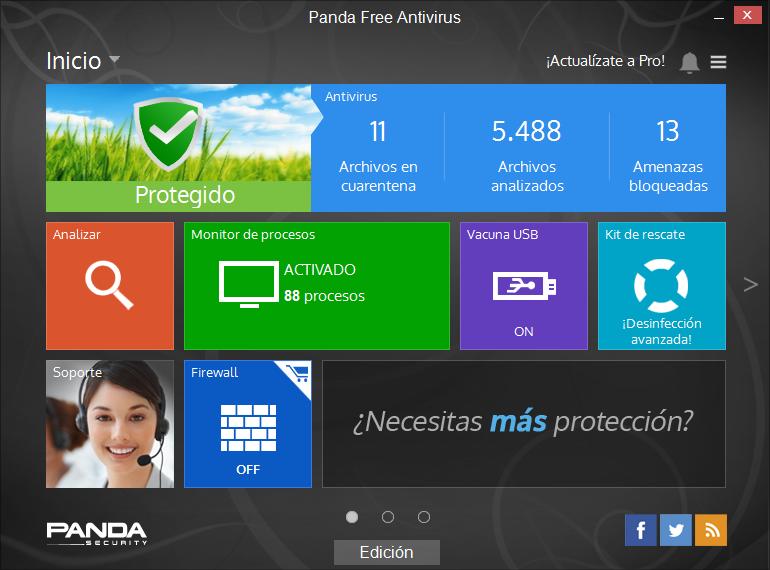 Consola de Panda Antivirus Free